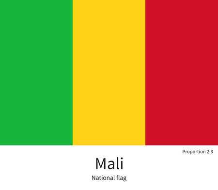 bamako: National flag of Mali with correct proportions, element, colors for education books and official documentation