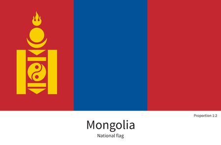 far east: National flag of Mongolia with correct proportions, element, colors for education books and official documentation
