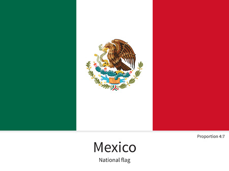 middle america: National flag of Mexico with correct proportions, element, colors for education books and official documentation Illustration