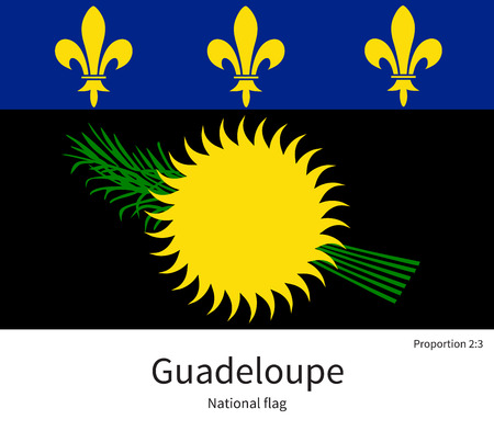guadeloupe: National flag of Guadeloupe with correct proportions, element, colors for education books and official documentation Illustration