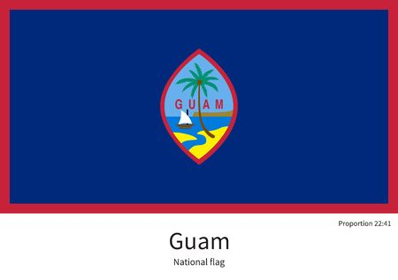 guam: National flag of Guam with correct proportions, element, colors for education books and official documentation