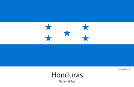 documentation: National flag of Honduras with correct proportions, element, colors for education books and official documentation Illustration
