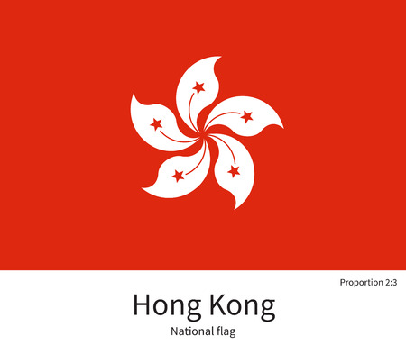 far east: National flag of Hong Kong with correct proportions, element, colors for education books and official documentation