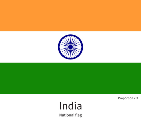south india: National flag of India with correct proportions, element, colors for education books and official documentation