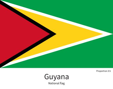 georgetown: National flag of Guyana with correct proportions, element, colors for education books and official documentation Illustration