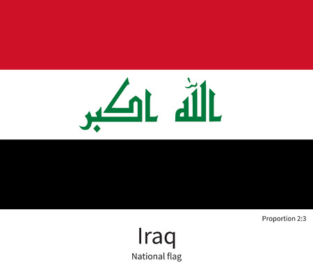 western asia: National flag of Iraq with correct proportions, element, colors for education books and official documentation Illustration