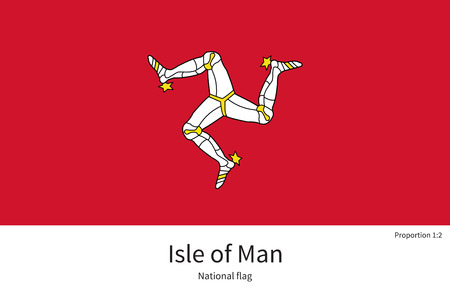 proportions of man: National flag of Isle of Man with correct proportions, element, colors for education books and official documentation Illustration