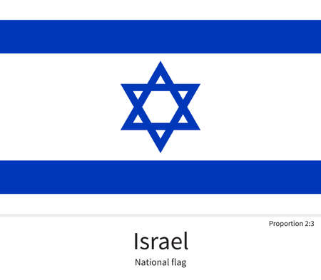 western asia: National flag of Israel with correct proportions, element, colors for education books and official documentation