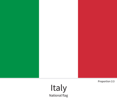 National flag of Italy with correct proportions, element, colors for education books and official documentation Illustration