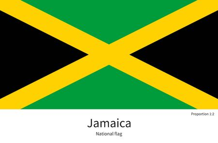 citizenship: National flag of Jamaica with correct proportions, element, colors for education books and official documentation