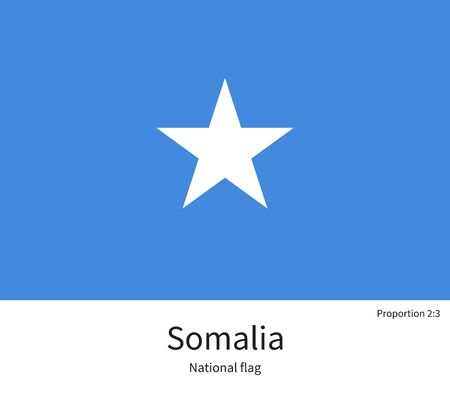 documentation: National flag of Somalia with correct proportions, element, colors for education books and official documentation