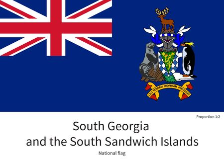 edward: National flag of South Georgia and South Sandwich Islands with correct proportions, element, colors for education books and official documentation Illustration