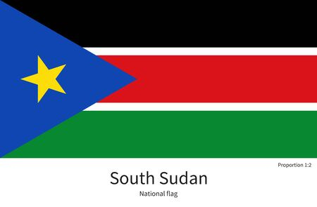 documentation: National flag of South Sudan with correct proportions, element, colors for education books and official documentation Illustration