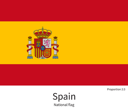 barcelona  spain: National flag of Spain with correct proportions, element, colors for education books and official documentation