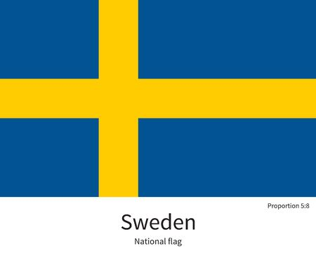 education in sweden: National flag of Sweden with correct proportions, element, colors for education books and official documentation