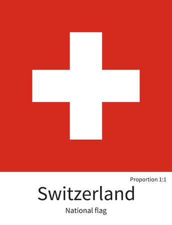 National flag of Switzerland with correct proportions, element, colors for education books and official documentation Illustration