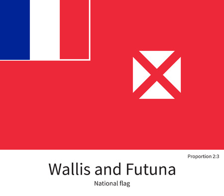 wallis: National flag of Wallis and Futuna with correct proportions, element, colors for education books and official documentation