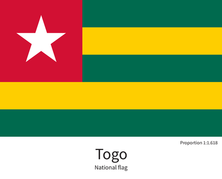 documentation: National flag of Togo with correct proportions, element, colors for education books and official documentation