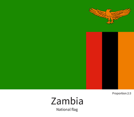 documentation: National flag of Zambia with correct proportions, element, colors for education books and official documentation