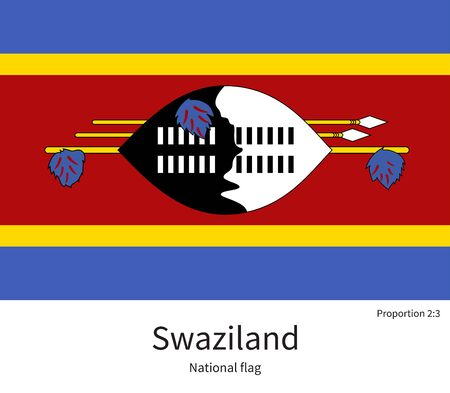 documentation: National flag of Swaziland with correct proportions, element, colors for education books and official documentation