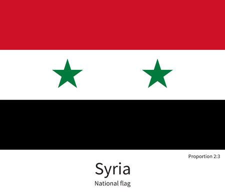 western asia: National flag of Syria with correct proportions, element, colors for education books and official documentation Illustration