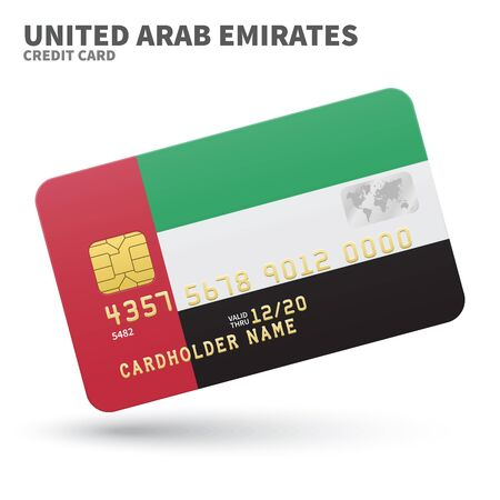smart card: Credit card with United Arab Emirates flag background for bank, presentations and business. Isolated on white background vector illustration. Illustration