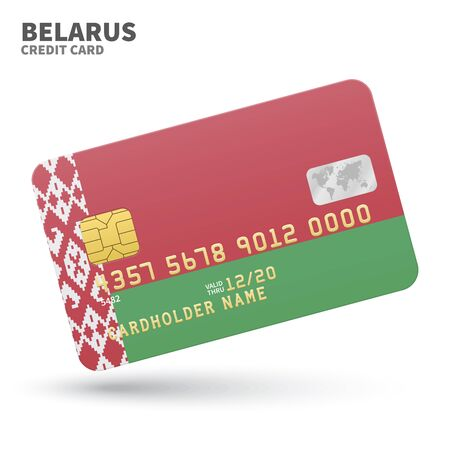 eastern europe: Credit card with Belarus flag background for bank, presentations and business. Isolated on white background vector illustration.