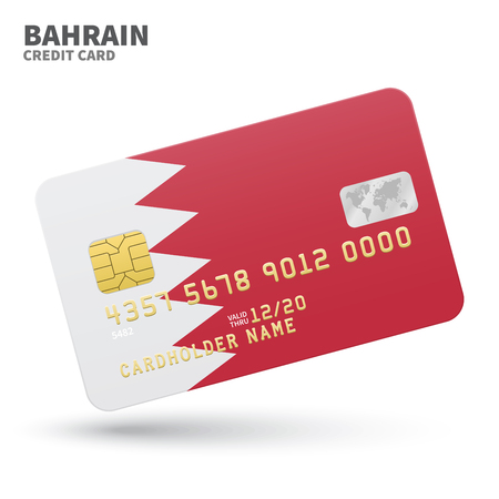 bahrain money: Credit card with Bahrain flag background for bank, presentations and business. Isolated on white background vector illustration. Illustration