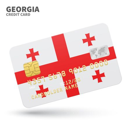 western asia: Credit card with Georgia flag background for bank, presentations and business. Isolated on white background vector illustration.