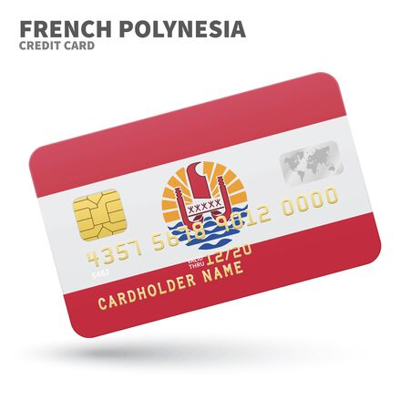 polynesia: Credit card with French Polynesia flag background for bank, presentations and business. Isolated on white background vector illustration. Illustration