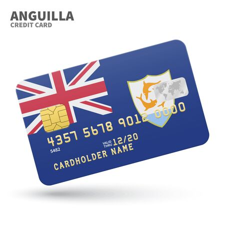anguilla: Credit card with Anguilla flag background for bank, presentations and business. Isolated on white background vector illustration.