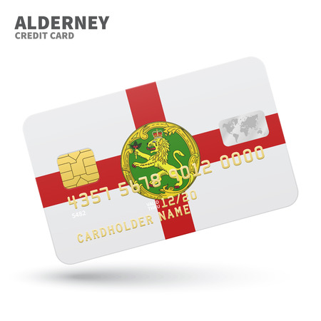 Credit card with Alderney flag background for bank, presentations and business. Isolated on white background vector illustration.