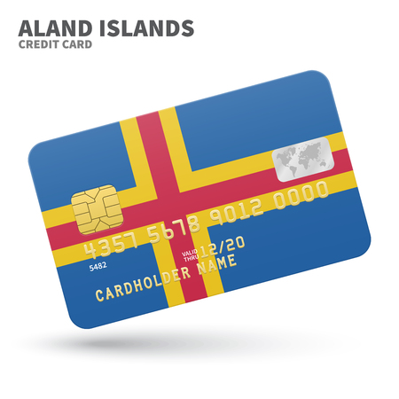 credit union: Credit card with African Union flag background for bank, presentations and business. Isolated on white background vector illustration. Illustration