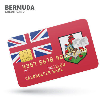 hamilton: Credit card with Bermuda flag background for bank, presentations and business. Isolated on white background vector illustration.