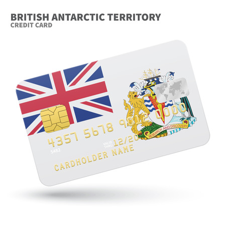 antarctic: Credit card with British Antarctic Territory flag background for bank, presentations and business. Isolated on white background vector illustration. Illustration