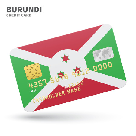 bujumbura: Credit card with Burundi flag background for bank, presentations and business. Isolated on white background vector illustration.