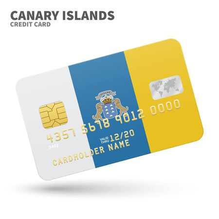 canary: Credit card with Canary Islands flag background for bank, presentations and business. Isolated on white background vector illustration.