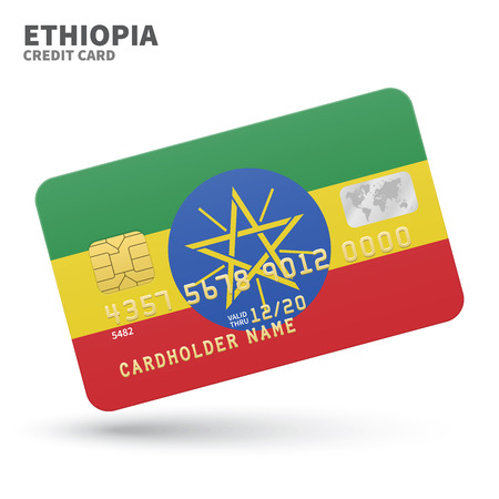 ababa: Credit card with Ethiopia flag background for bank, presentations and business. Isolated on white background vector illustration.
