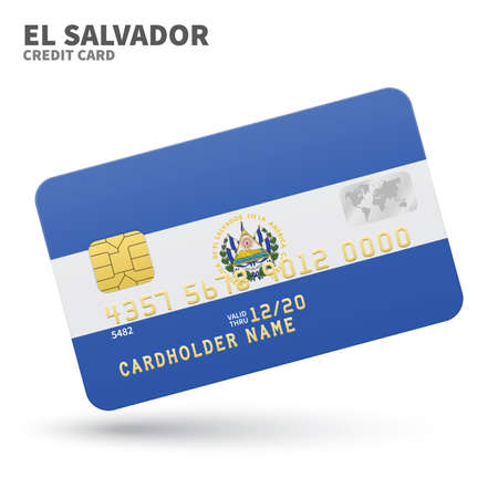 bandera de el salvador: Credit card with El Salvador flag background for bank, presentations and business. Isolated on white background vector illustration.