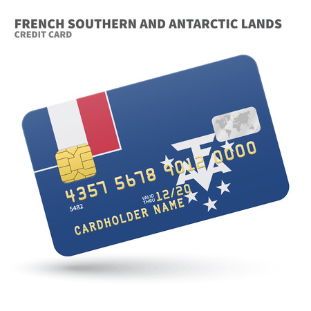 antarctic: Credit card with French Southern and Antarctic Lands flag background for bank, presentations and business. Isolated on white background vector illustration.