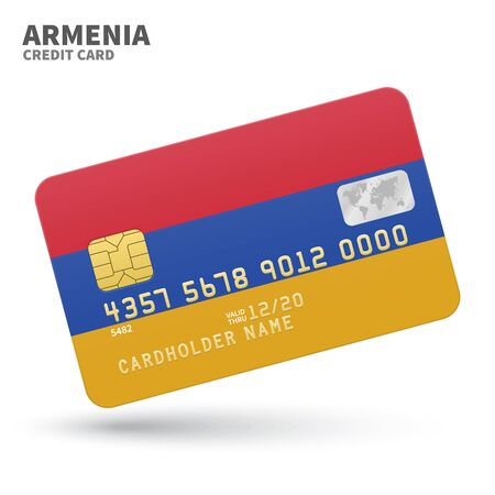 yerevan: Credit card with Armenia flag background for bank, presentations and business. Isolated on white background vector illustration. Illustration