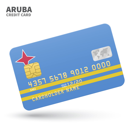 aruba flag: Credit card with Aruba flag background for bank, presentations and business. Isolated on white background vector illustration. Illustration