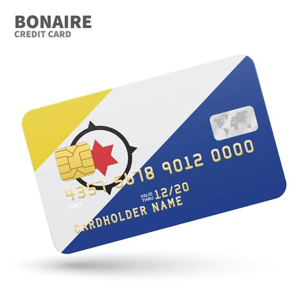 bonaire: Credit card with Bonaire flag background for bank, presentations and business. Isolated on white background vector illustration. Illustration