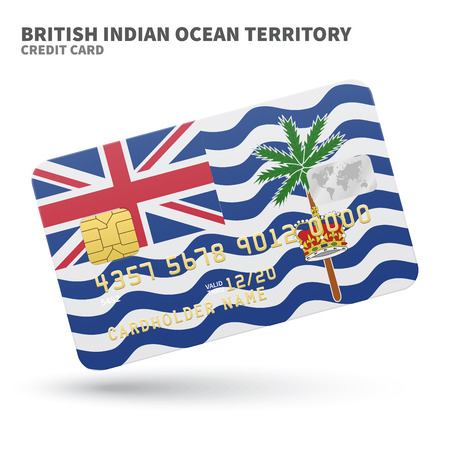 atoll: Credit card with British Indian Ocean Territory flag background for bank, presentations and business. Isolated on white background vector illustration.