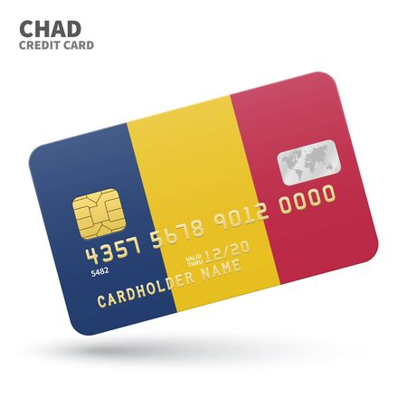 chad flag: Credit card with Chad flag background for bank, presentations and business. Isolated on white background vector illustration. Illustration