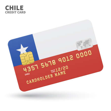 chile flag: Credit card with Chile flag background for bank, presentations and business. Isolated on white background vector illustration. Illustration