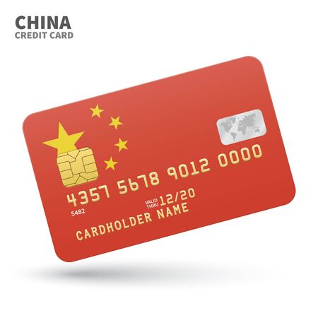far east: Credit card with China flag background for bank, presentations and business. Isolated on white background vector illustration.
