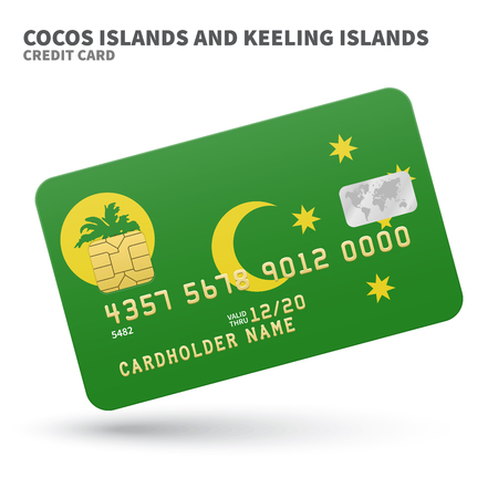 cocos: Credit card with Cocos Islands and Keeling Islands flag background for bank, presentations and business. Isolated on white background vector illustration.