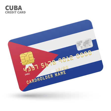 havana cuba: Credit card with Cuba flag background for bank, presentations and business. Isolated on white background vector illustration.