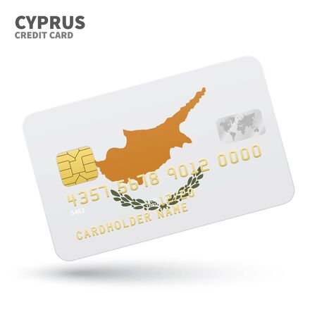 southeastern asia: Credit card with Cyprus flag background for bank, presentations and business. Isolated on white background vector illustration.